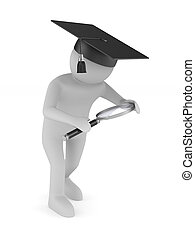 Man with magnifier on white background. Isolated 3D illustration