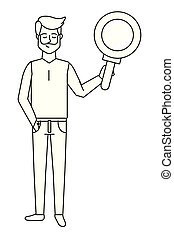 man with magnifying glass black and white