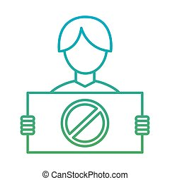 man with manifestation banner degraded style icon vector design