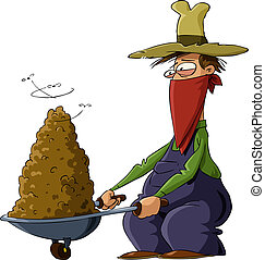 Man with manure - A man and a truck with manure, vector