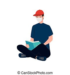 man with mask reading a book vector design
