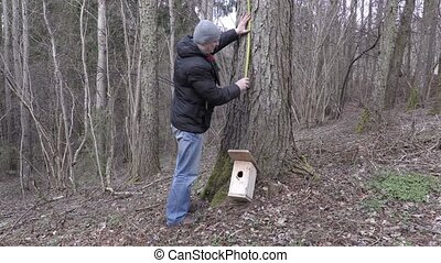 Man with measure tape and birdhouse near tree