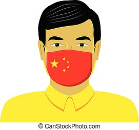Man with medical face mask vector