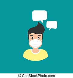 man with medical mask avatar. guy with speech bubbles. flat icon on blue background.
