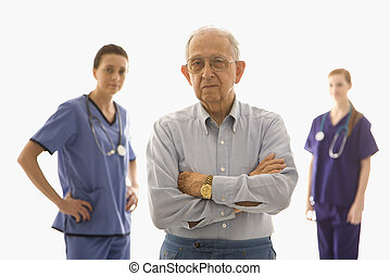 Man with medical workers.