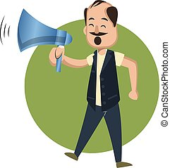 Man with megaphone, illustration, vector on white background.