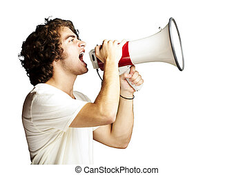 man with megaphone - portrait of a handsome young man...