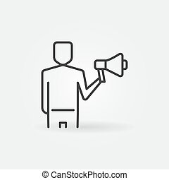 Man with Megaphone vector outline concept icon