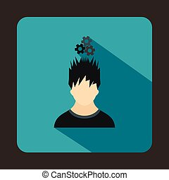 Man with metal gears over head icon, flat style