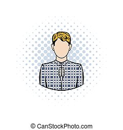 Man with microphone comics icon