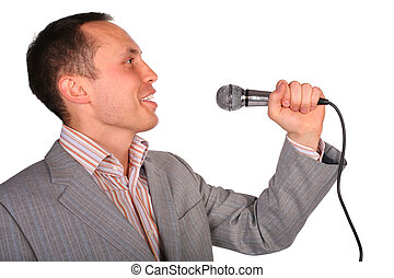 man with microphone