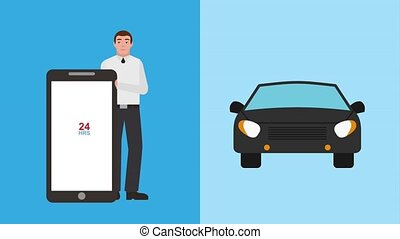 man with mobile rent car service app animation hd