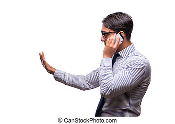 Man with mobile smartphone isolated on white