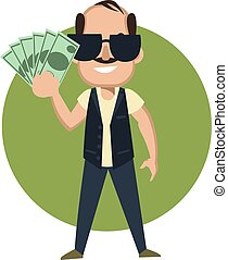 Man with money, illustration, vector on white background.