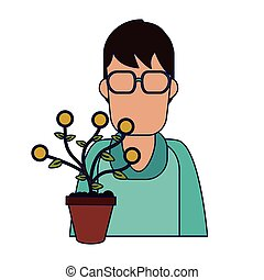 Man with money plant in pot