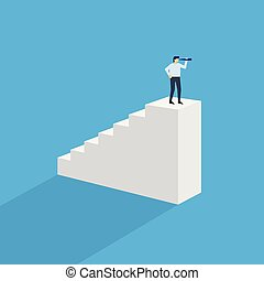 Man with monocular on top of stairs. Businessman on top of ...