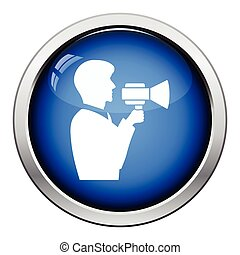 Man with mouthpiece icon. Glossy button design. Vector...