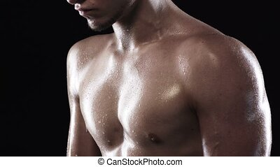Man with muscular torso - Cropped closeup of strong athletic...