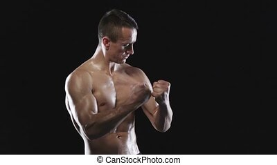 Man with muscular torso - Strong athletic man with muscular...