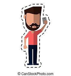 man with mustache beard using smartphone dot line