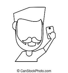 man with mustache beard using smartphone thin line