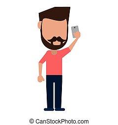 man with mustache beard using smartphone