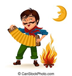 Man with mustache plays sanfona near fire under moon vector illustration, Boy holding accordion at bonfire at night