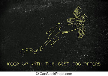 man with net handling a group of falling job offers