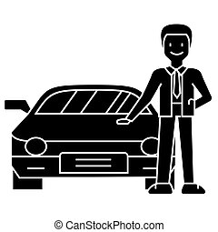 man with new car - car dealer - auto dealership - buying a car icon, vector illustration, black sign on isolated background