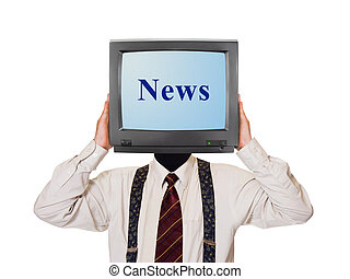 Man with News tv screen for head
