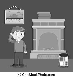man with no fire place black and white color style
