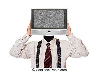 Man with noisy tv screen for head isolated on white...