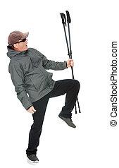 Man with Nordic walking poles
