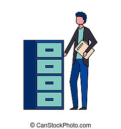 man with office cabinet organizer