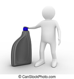 man with oil bottle on white background. Isolated 3D image