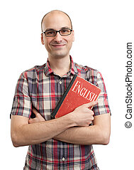 man with old book of English language
