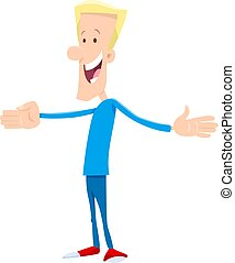 man with open arms cartoon illustration