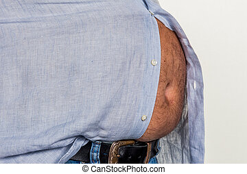 man with overweight. photo icon for beer belly, unsuccessful...