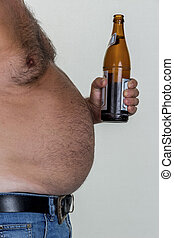 man with overweight. symbolic photo for beer belly, ...