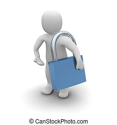 Man with padlock. 3d rendered isolated illustration.
