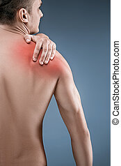 Man with pain in shoulder. Pain in the human body. Black and...