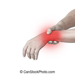 Man with pain in the hand isolated on white background