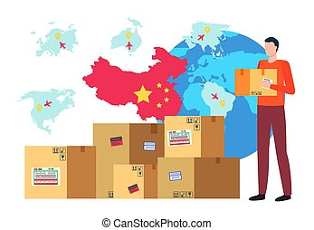 Character holding carton box in hands. Globe and flag of china. Business trade with oriental country. Asian partner and supplier of goods for shipment. Logistics and retailing male, vector in flat