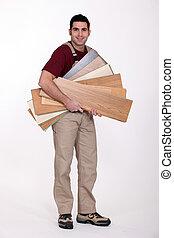 Man with parquet slats