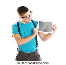 Man with pc tablet