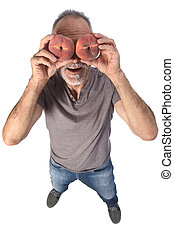man with peach on white background
