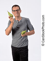 man with pear on white background