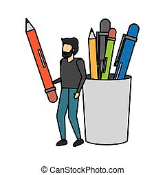 man with pencil and filled case