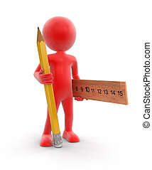 Man with pencil and ruler