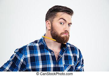 Man with pencil in beard